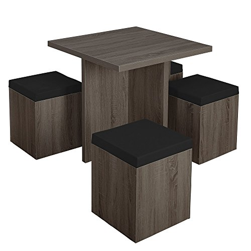Simple Living 5-piece Baxter Dining Set with Storage Chair One (1) Table, Four (4) Storage Ottomans Black Grey by Simple Living Products