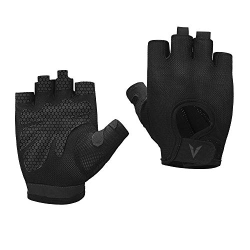 Veadoorn Gym Gloves Unisex Breathable Non-Slip Silica Gel Grip Exercise Gloves for Sports Cycling Fitness Weight-Lifting Bodybuilding (Black, L)