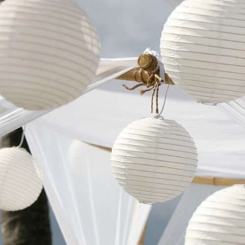(Luna Bazaar Paper Lanterns (10-Inch, Parallel Style Ribbed, White, Set of 10) - Rice Paper Chinese/Japanese Hanging Decorations - For Home Decor, Parties, and Weddings)