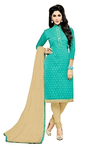 Sea Green Cotton Kameez (Rekha Ethnic Shop Sea Green Color Model Butti Designer Woman Salwar)