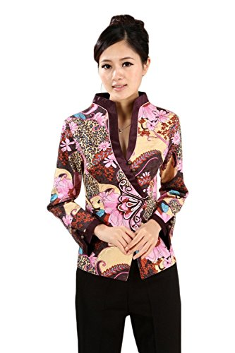 AvaCostume Womens Chinese Qipao Style Vintage Standing Collar Top Blouse