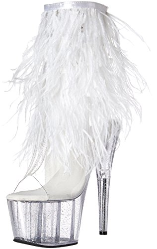 Pleaser Platform Marabou Fur Fringe Ankle Boot Clear-White...
