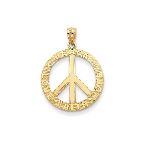 14K Gold Peace/Hope/Faith/Love Peace Sign Pendant (0.98 in x 0.79 ()