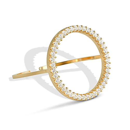 UHIBROS 18k Gold Plated Stackable Rings For Women CZ Simulated Diamond Circle Ring Minimalist Fashion Dainty Rings