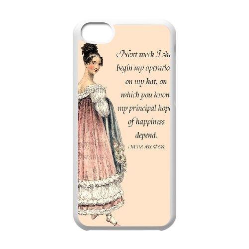 Austen Happy coque iPhone 5C Housse Blanc téléphone portable couverture de cas coque EBDOBCKCO13185