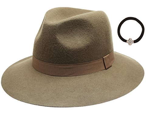Women's Winter 100% Wool Felt Cloche Short Brim Floppy Fedora Hats with Hair Tie (Dusty (Fedora Hat Green)