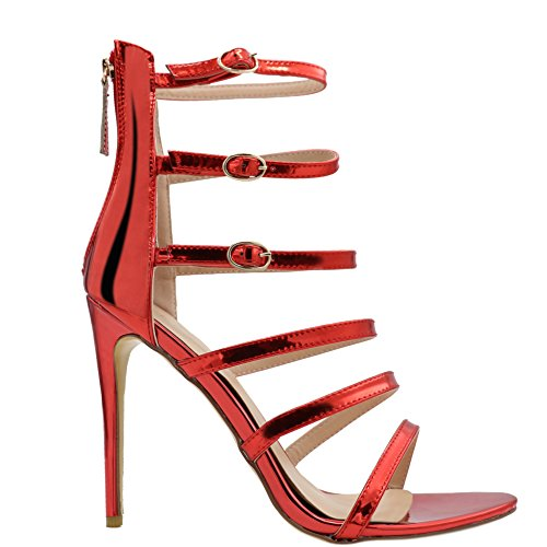EKS Women's Firsui Thin Ankle Straps Stilettos High Heels Elegant Sandals Red YoiCCmq