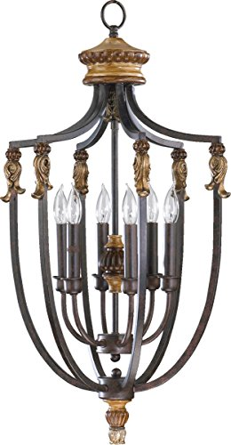Quorum 6701-6-44 Capella Pendant, 6-Light, 360 Total Watts, Toasted Sienna With Golden Fawn