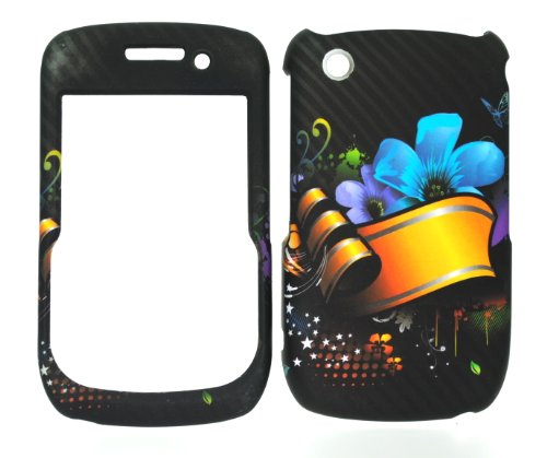 Yellow Ribbon & Flower Rubberized Snap on Hard Skin Faceplate Cover Case for Blackberry Curve 8520 8530 ()