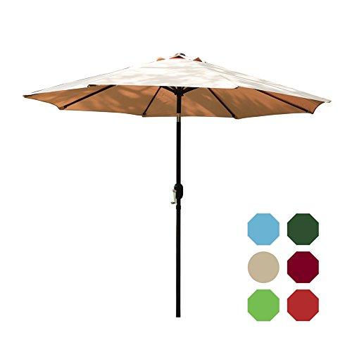 I-Choice 9 ft Outdoor Patio Umbrella Aluminum Market Table Garden Umbrella 8 Ribs W/Push Button Tilt & Crank Lift Adjustment, Sand Review