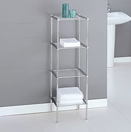 Chrome Storage Tower Bathroom Storage Shelves Interior Decorating