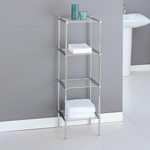 Chrome Storage Tower Bathroom Storage Shelves, Interior Decorating (Clock Etagere)