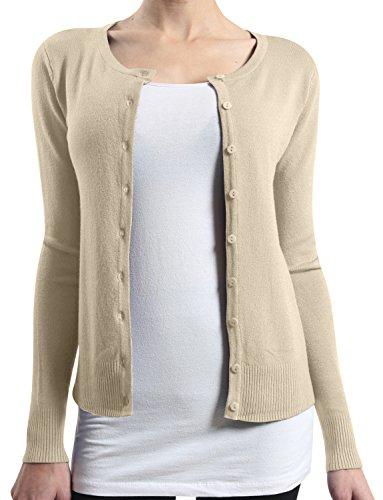 LE3NO Womens Basic Round Neck Fine Knit Cardigan  OATMEAL Medium