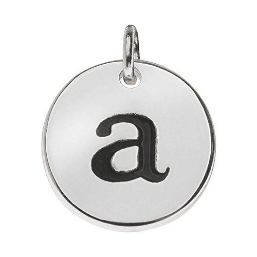 Beadaholique Lead-Free Pewter, Round Alphabet Charm Lowercase Letter 'a' 13mm, 1 Piece, Silver Plated ()
