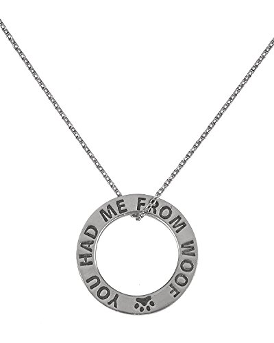 Circular Necklace Pewter (Circular Pewter Dog You Had Me From Woof Paw Plaque Necklace Greater Good Rescue Donation)