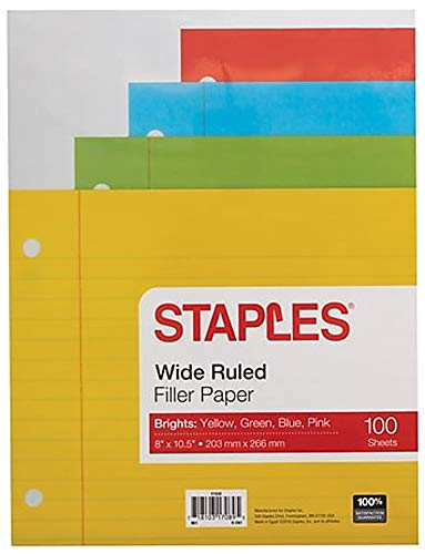 (Staples Bright Wide-Ruled Filler Paper, 8