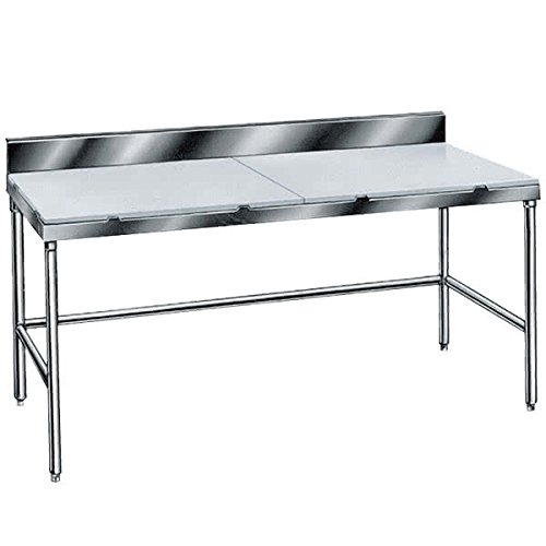 TableTop King TSPS-305 Poly Top Work Table 30'' x 60'' with 6'' Backsplash - Open Base by TableTop King