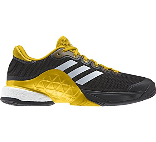 Pictures of Adidas Men's  Barricade 2017 Boost Men's Tennis Shoe Core Black/White/Equestrian Yellow, 11.5 D(M) US 2