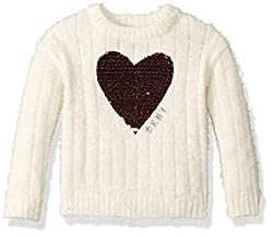 Sequin Heart Shape Girls' Sweater In White Color