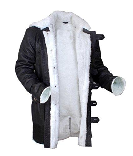 F&H Men's Bane Genuine Stonewash Leather Shearling Coat 3XL (Black Leather Shearling Coat)