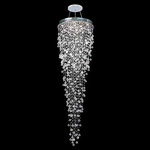 APBEAM Clear K9 Modern Spiral Rain Drop Ceiling Light for Restaurant Staircase Crystal Chandelier Light Fixtures Lighting 32″W x 96″H