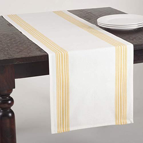 SARO LIFESTYLE 519 Multi Ligne Collection Printed Striped Design Table Runner, 16 x 72-Inch, Yellow, 16