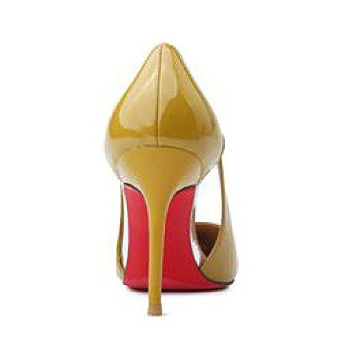 Party Nightclub 1cm en 4 UK Talons 5 Creux Chaussures Femmes Yellow Cuir Mariage Cour Verni Mode 9 37 Travail Hauts EU Chaussures Femme Sexy De pour Noir 1qPTx4U