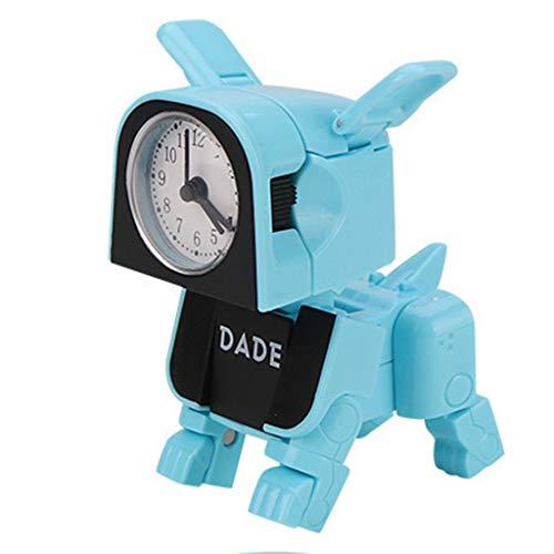 Weite Mini Deformed Dog Shaped DIY Alarm Clock, Fun Deformation Toy for Kids Boys Girls (Blue)