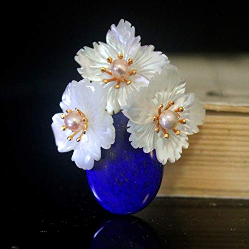 THTHT Brooch Pendant Dual-Use Shell Flower Women's Accessories Lapis Lazuli Vase Handmade Corsage Vintage Exquisite High-End Jewelry Luxury