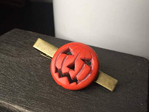 Halloween Pumpkin Tie Clip by Arcanum By Aerrowae - Mens Fall Jewelry for Halloween -