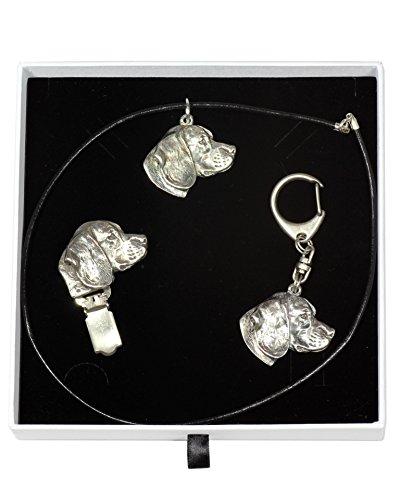 Dog Keyring Beagle Necklace and clipring in Casket Elegance Set ArtDog Limited Edition