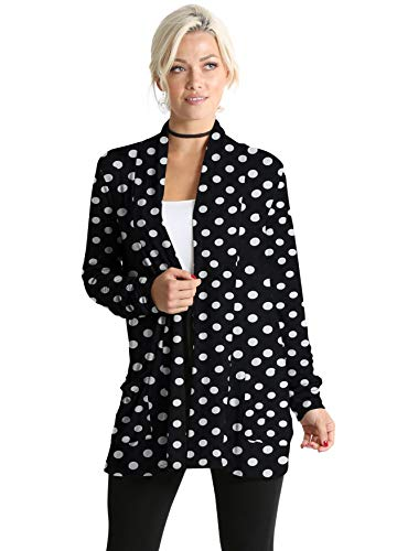 Womens Open Drape Cardigan Reg and Plus Size Cardigan Sweater Long Sleeves - USA (Size Small, Big Black Dots Pocket Ruched Sleeve) (Dot Cardigan Sweater)
