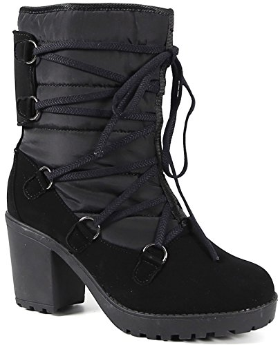 Carrini CA Collection 18-167 Womens Fashion All Vegan Materials Adorable Cozy Faux Shearling Lined 3 Chunky Heel Weather Boots Black 869vJdls