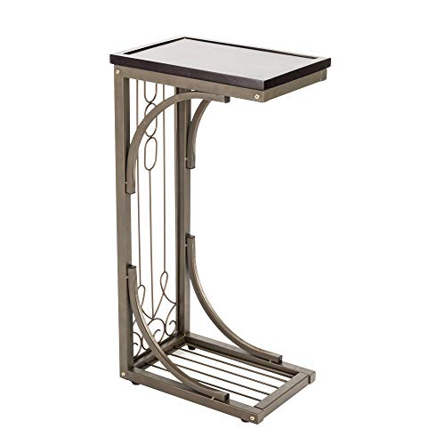 Craftsman Magazine Table - Side Table Sofa End Table for Office Hallway or Living Room Acacia Magnum Furniture with Metal Frame