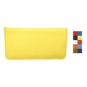 Yellow Genuine Colorado Leather Eyeglass Case Soft – Prime Quality Gifts for Her - Padded Suede Interior - Made in USA by Real Leather Creations FBA631