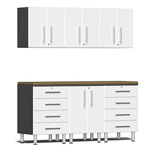 Ulti-MATE UG22072W 7-Piece Garage Cabinet Kit with Bamboo Worktop in Starfire White - Cabinet 7 Piece Garage
