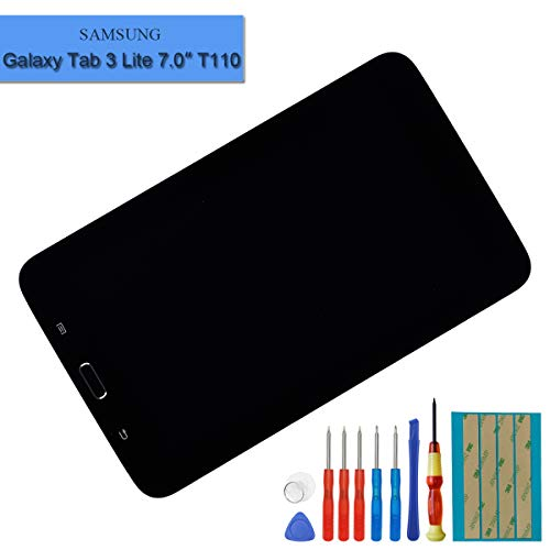 New LCD Screen Compatible with Samsung Galaxy Tab 3 lite 7.0 T110 T111 T113 T116 T114 LCD Touch Screen Display Assembly with Frame + Tools(Black)
