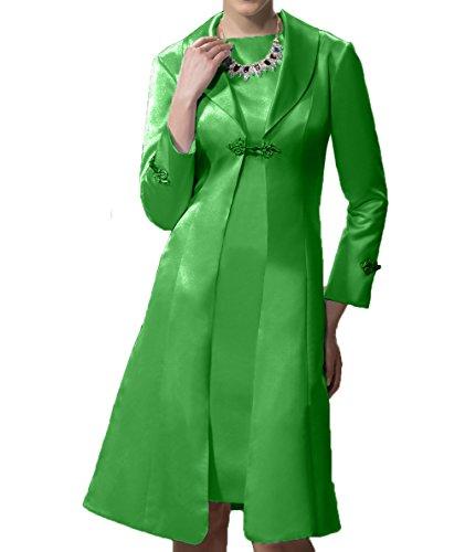 Etuikleider Grün Langarm Partykleider Ballkleider Brautmutterkleider Satin Damen Charmant Abendkleider Festlichkleider RwTH0wz
