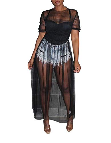 Womens Sexy Mesh See Through Dress Short Sleeve O Neck Long Pleated Maxi Dress Beach Bikini Cover up - Sexy Large Mesh Extra