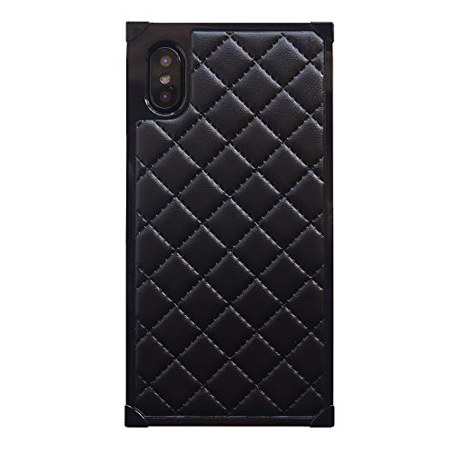 iPhone Xs Max Women Case, DMaos Luxury Classic Grid Lattice Leather Soft TPU Cover Shock Absorption, Premium for iPhone 10s Max 2018 6.5 Inch - Black
