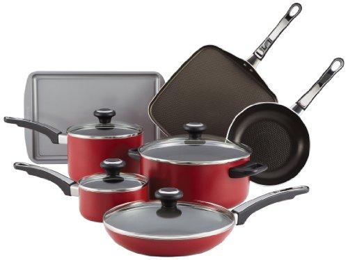 (Farberware High Performance Aluminum Nonstick 12-Piece Cookware Set, Red)