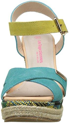 Les Tropéziennes par M. Belarbi Grease, Bout Abierto Mujer Azul (Turquoise/jaune)