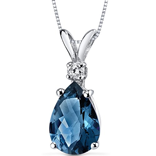 14 Karat White Gold Pear Shape 2.00 Carats London Blue Topaz Diamond Pendant -