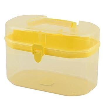 eDealMax plástico del hogar de Forma Rectangular 2 capas Caja de almacenamiento caja de herramienta amarillas