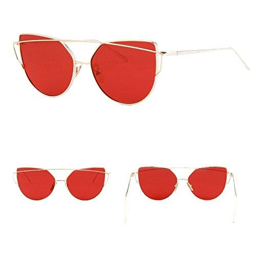 De Sol Para La Mujer Oculos De Hembra Oro La Gafas Metal Espejo De Gafas Gafas Ojo En De Vendimia Rosa De De De Lente GOLD RED W BLOOD El De Reflectante La Gato TIANLIANG04 Gery Plana Oro W wCAZx6Sq7