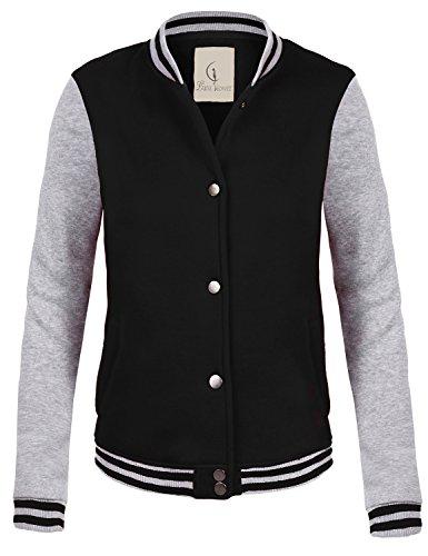 Casual Stylish Street Style Baseball Uniform Coat Jackets,097-Black_Grey,Large