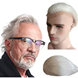 Gray White hair Toupee for men Hair pieces for men