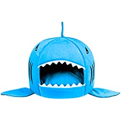Aosbos Dog Cat Beds Shark Round Shape House with Removable Cushion Pet Beds for Small Dogs Puppy Kittens (Blue, Medium)