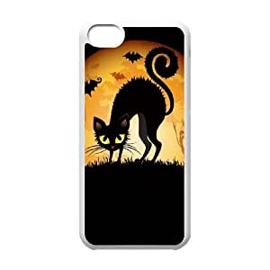 Frightened Cat with Bats and Ghosts iPhone 5c Cell Phone Case White NiceGift pjz0035071042