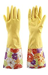 Sealike Floral Antiskid Dishwashing Gloves Cleaning Gloves Household Gloves Water Stop Waterstop Gloves with Stylus Yellow